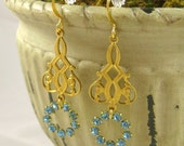 Aquamarine Crystal Chandelier Dangle Earrings Bridal Wedding Jewelry