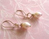 Romance and Roses Pearl Dangle Earrings Bridal Wedding Jewelry