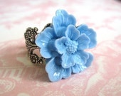 Cherry Blossom In Blue Antique Silver Adjustable Statement Ring