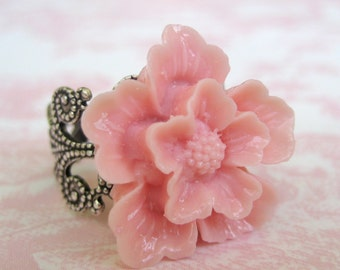 Cherry Blossom In Light Pink Antique Silver Adjustable Statement Ring