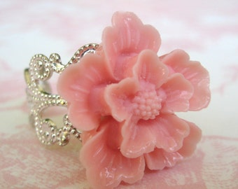 Cherry Blossom In Light Pink Silver Adjustable Statement Ring