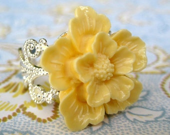 Cherry Blossom In Yellow Fancy Silver Adjustable Statement Ring