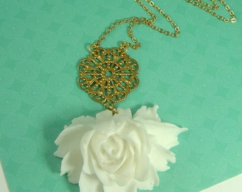 Julia Drama Rose In White Statement Necklace Bridal Wedding Jewelry