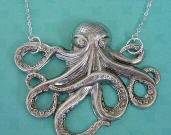 Grande Octopus In Antique Silver Pendant Necklace