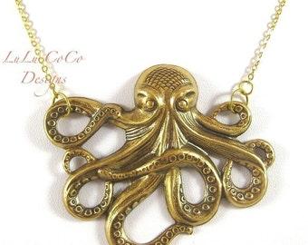 Grande Octopus In Antique Brass Pendant Necklace