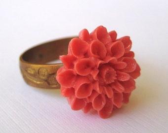 Simply Petite Coral Chrysanthemum Adjustable Ring