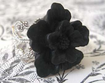 Cherry Blossom In Black Silver Adjustable Statement Ring