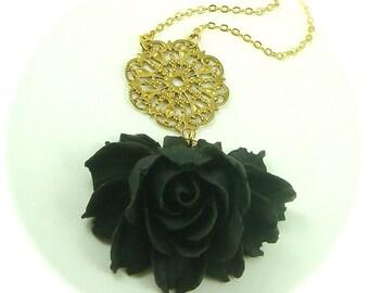 Julia Drama Rose In Black Statement Necklace Bridal Wedding Jewelry