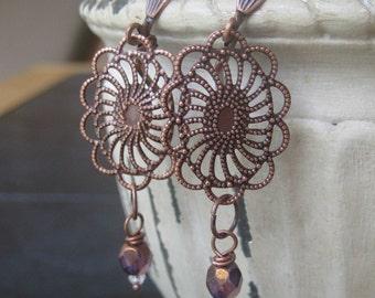 Bronze Crystal Blossom Dangle Earrings