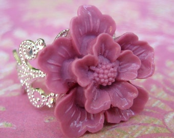 Cherry Blossom In Mauve Silver Adjustable Statement Ring