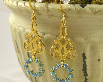 Aquamarine Crystal Chandelier Dangle Earrings Bridal Wedding Jewelry