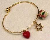Life's Necessities: Love, Faith and a Sweet Treat // Heart, Star of David, and Cupcake Charm Bracelet