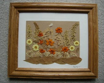 Original Framed Pressed Flower Art - Fall Garden with Pressed  Flowers