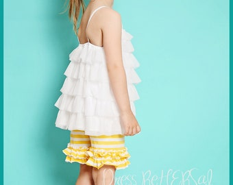Yellow  and white stripe knit ruffle short (12m to 8 years)  single or double ruffle Shorties  Read listing in its entirety
