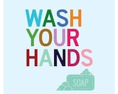 Wash Your Hands – Bathroom Wall Art Print, Washroom Decor, Bathroom Art, Bathroom Sign, Brush Wash Flush, Kids Bathroom, Bathroom Decor