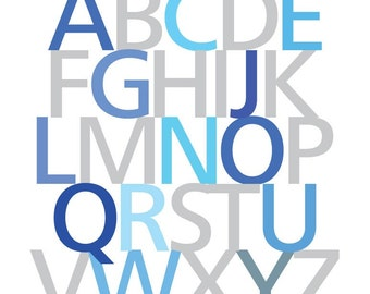Alphabet Art Print, Blue Nursery Wall Art, Blue Nursery Decor, Art Prints for Kids