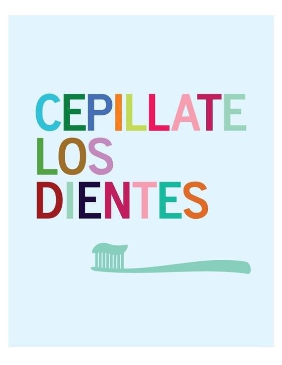 Cepillate Los Dientes Bathroom Wall Art print - Spanish
