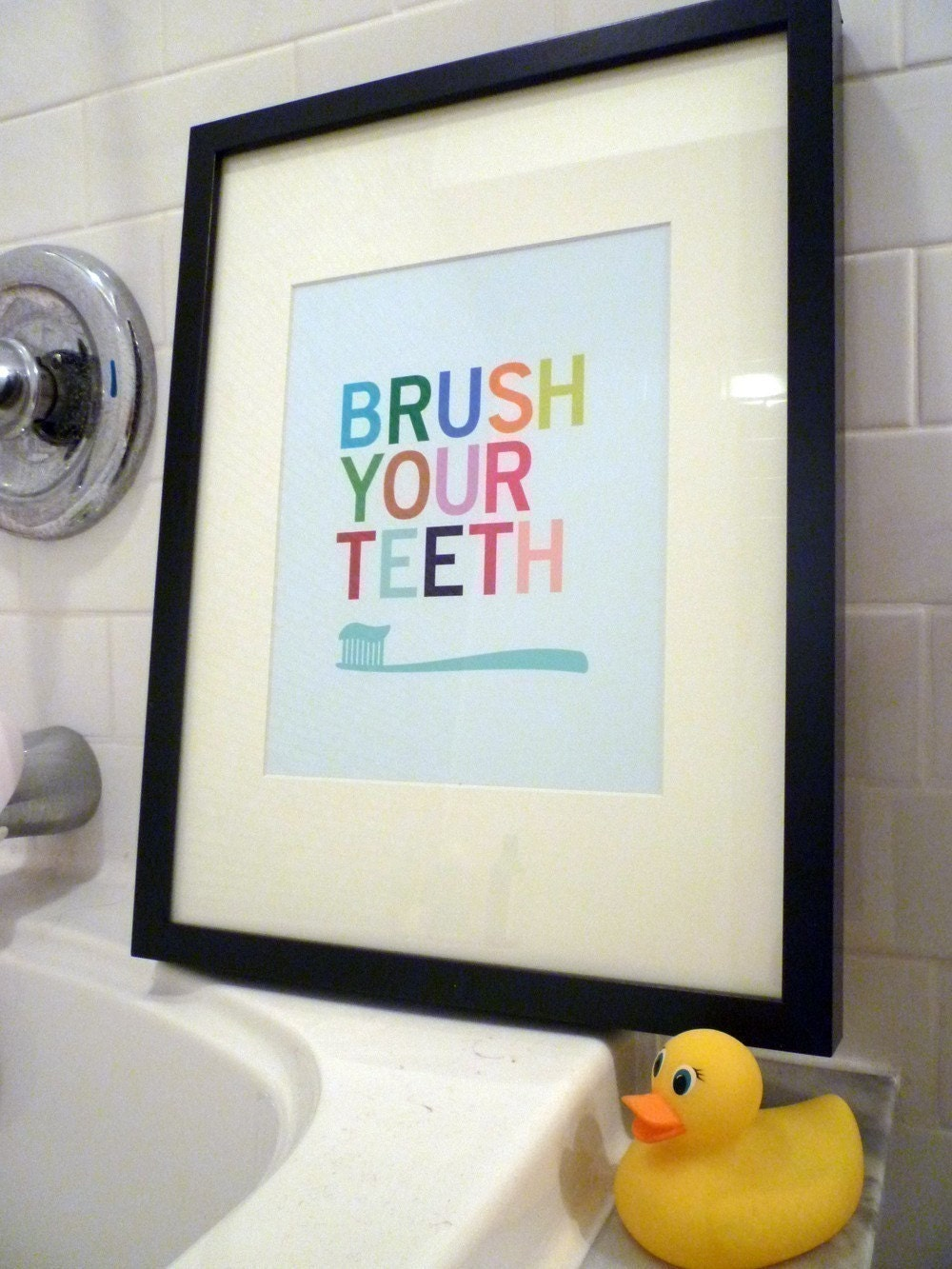 Brush Your Teeth Bathroom Wall Art Print