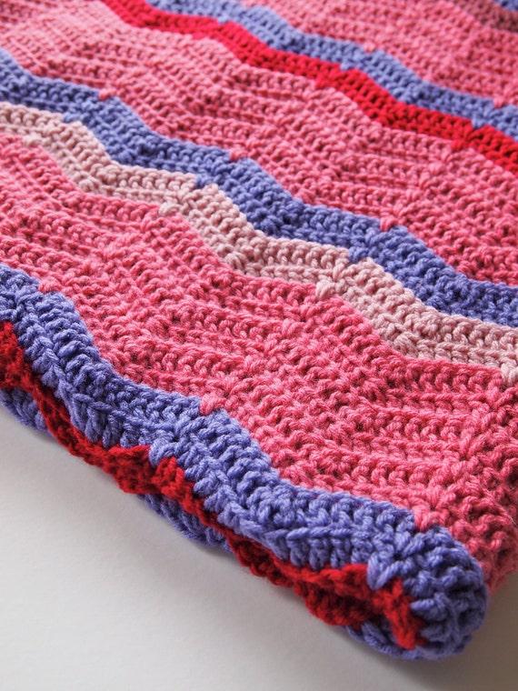 Crochet blanket, afghan blanket, ripple blanket