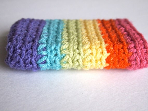 Rainbow iPhone 4 case, cell phone cover or mp3 player cozy in rainbow, gadget accessories