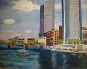 Original Watercolor painting of Grand Rapids MI Artprize skyline  15% OFF- 2009 by ArleneFaye