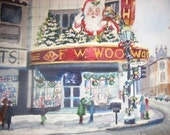 Woolworths Grand Rapids Michigan 1960's   5 X 7 signed watercolor print
