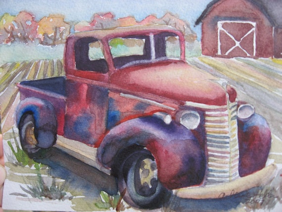 Watercolor Note Cards or Prints of Old Red Truck by ArleneFaye