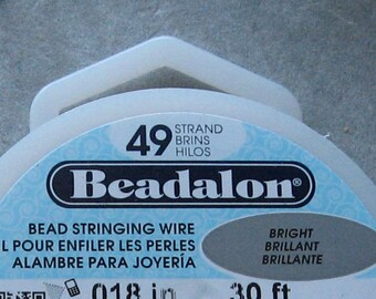 Beadalon 49 Strand Beading Wire .024 100 foot spool Stainless Steel w/ Clear Coat