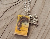 AliceInWonderland Necklace with Book Charm and WhiteRabbit Charm