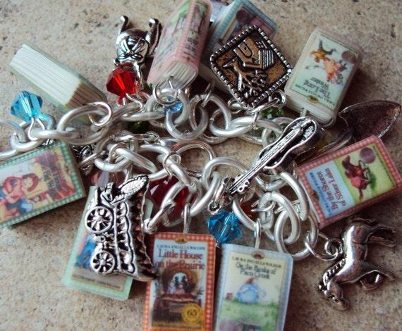 SALE PRICE LittleHouse on the Prairie Books Fringe Charm Bracelet
