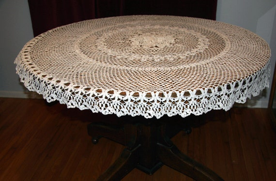 hand crochet round tablecloth white cotton vintage