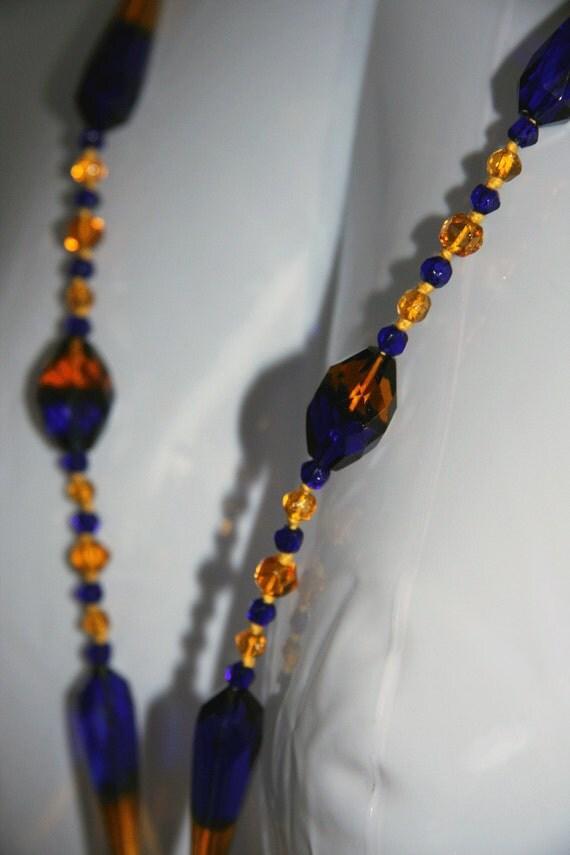 On Resrve For bomdesign   1920s  Sautoir Necklace Amber Blue Czech Bohemian Lead Crystal