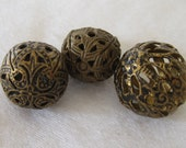 Lot of 3 VINTAGE Round Pierced Metal Cricket Cage BUTTONS