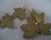 Gold Plated Leaves Costume JEWELRY Brooch and Earring Set