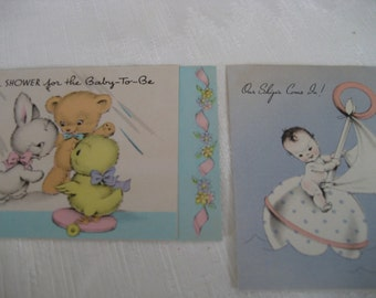 Lot of 2 VINTAGE 1940s Baby Shower and Arrival Greeting Cards    V12