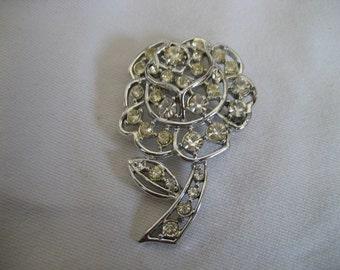VINTAGE Pierced Rhinestone Flower Costume JEWELRY Brooch