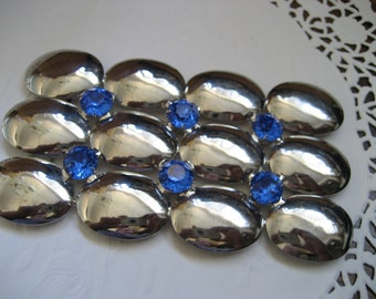 HUGE VINTAGE Silver Metal and Blue Rhinestone Belt BUCKLE