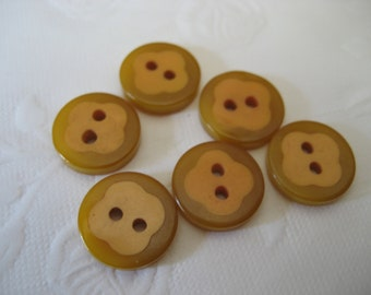 Set of 6 VINTAGE Yellow Bakelite Cookie BUTTONS
