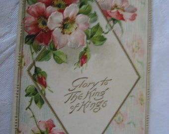 ANTIQUE Religious Flowers Postcard Greeting
