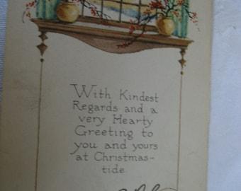 ANTIQUE Christmas Verse Postcard Greeting