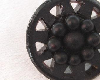 Small ANTIQUE Pierced Black Glass BUTTON