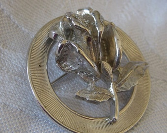 VINTAGE Silver Metal Realistic Rose Flower Jewelry Brooch