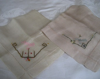 Set of 2 VINTAGE Embroidered Name MAE Monogramed Silk Handkerchiefs