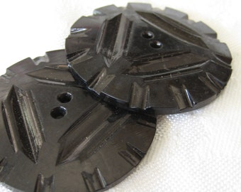 Set of 2 VINTAGE Large Carved Black Casein BUTTONS
