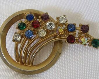 VINTAGE Multi Color Rhinestone Spray Costume Jewelry Brooch