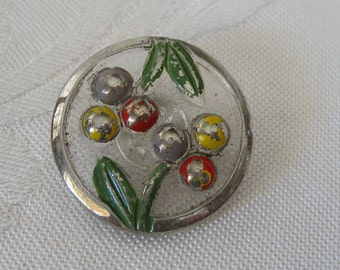Large Vintage Painted Clear Glass Cherry Fruit BUTTON