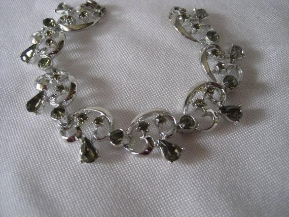 VINTAGE Silver Metal Smokey Rhinestone JEWELRY Bracelet