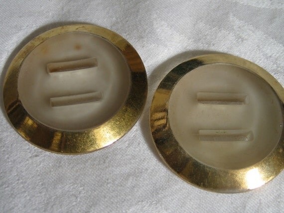 Set of 2 VINTAGE Large Ribbon Hole Gold Tint Clear Glass BUTTONS