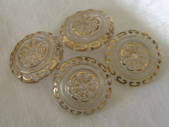 Set of 4 VINTAGE Clear Glass Gold Tint BUTTONS