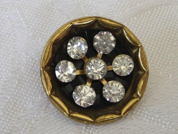 VINTAGE Rhinestone in Gold Metal Button